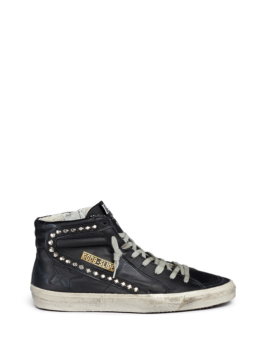 'Slide' Stud Smudged Leather High Top Sneakers