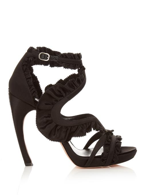 Satin Platform Sandals with Ruffle Trim