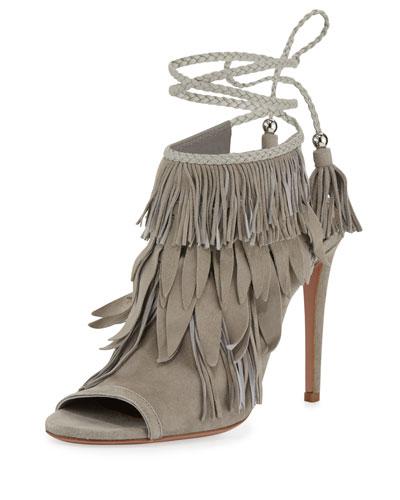 Pocahontas Fringed Suede Peep Toe Sandals