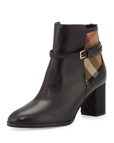 STEBBINGFORD LEATHER & CHECK BOOTIE, BLACK