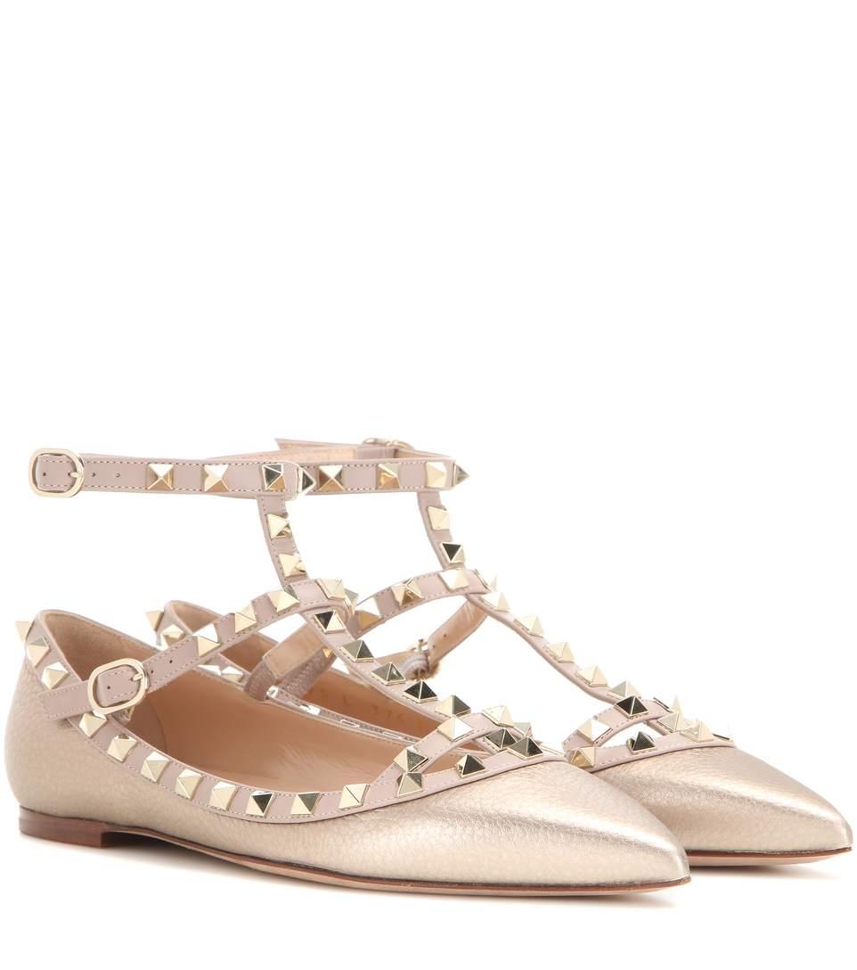 Rockstud metallic leather ballerinas