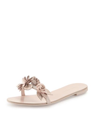 Lilico Slide Flower Embellished Leather Slide Sandals