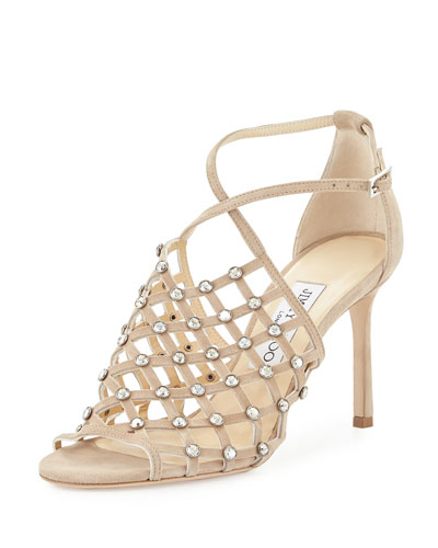 DONNIE 100 Nude Suede Sandals with Crystal Studs
