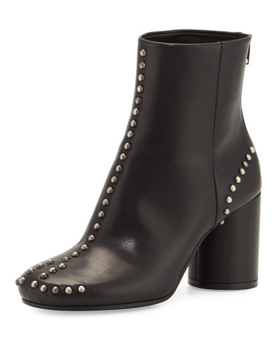 STUDDED LEATHER ROUND-HEEL ANKLE BOOT, BLACK