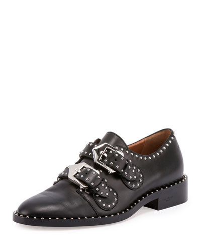 ELEGANT EMBELLISHED LEATHER MONK STRAP SHOES