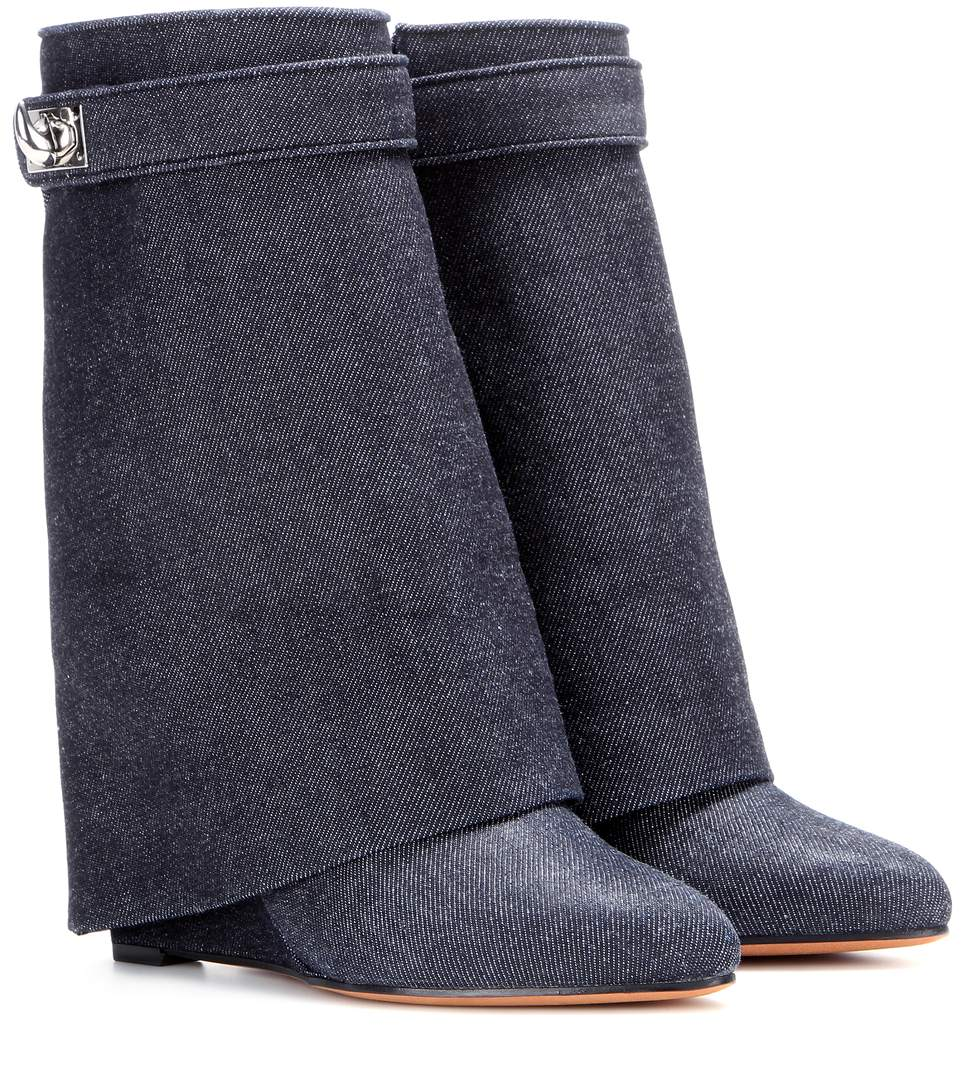 givenchy shark lock denim wedge boots llue modesens