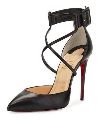 SUZANNA LEATHER CRISSCROSS RED SOLE PUMP, BLACK