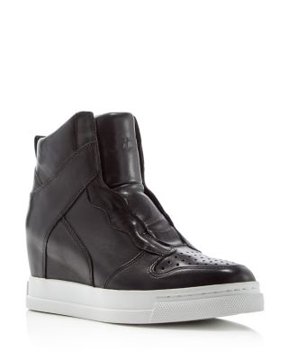 CLONE LEATHER HIDDEN-WEDGE HIGH-TOP SNEAKER, BLACK