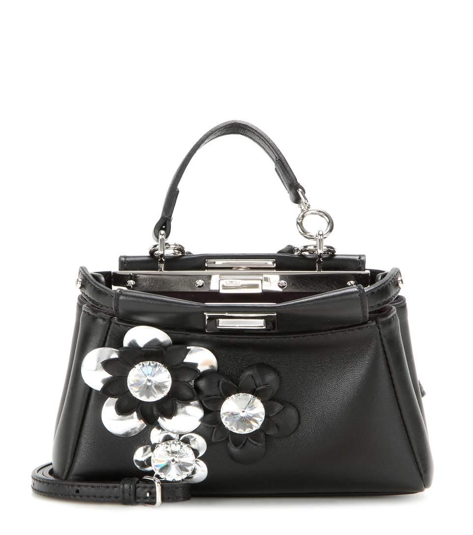 Micro Peekaboo embellished leather shoulder bag