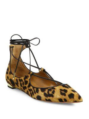 AQUAZZURA Christy Leopard-Print Calf Hair Point-Toe Flats, Caramel Leopard
