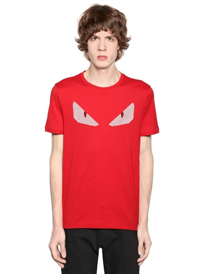 FENDI Crystal Monster Eyes Short-Sleeve Tee, Red in Red/White