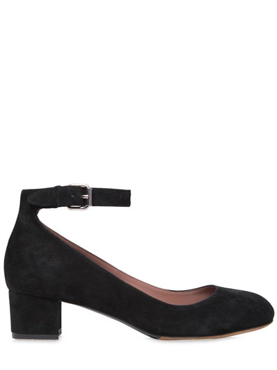 TABITHA SIMMONS Martha Velvet Mary Jane Ankle-Strap Block-Heel ...