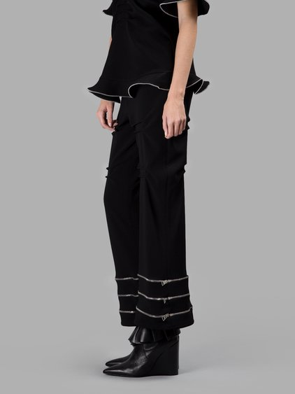 BLACK GATHERED TROUSERS WITH ZIP DETAILS