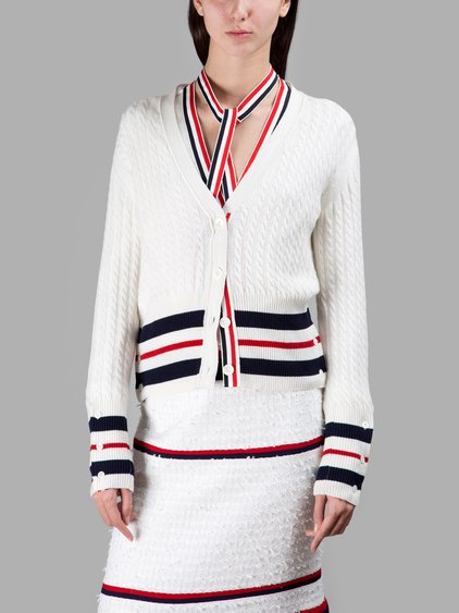 STRIPED CASHMERE CABLE KNIT CARDIGAN, WHITE/NAVY/RED