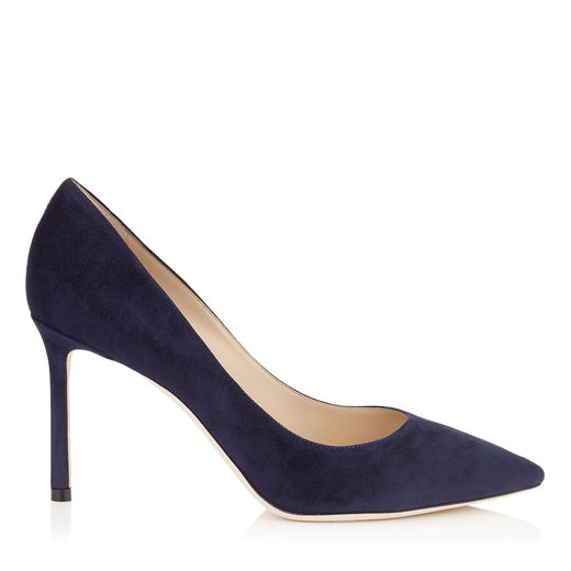 ROMY 85 Navy Suede Pointy Toe Pumps