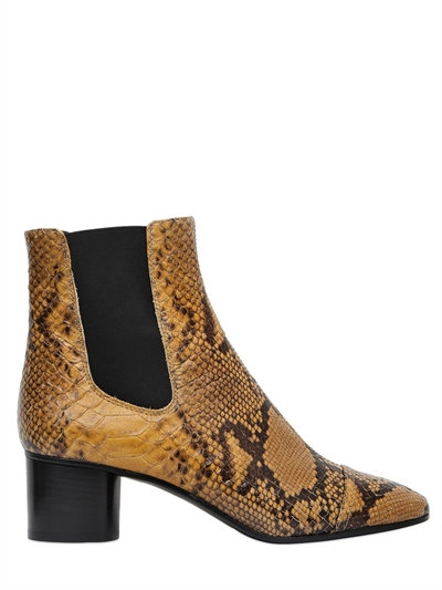 DANAE PYTHON-EMBOSSED CHELSEA BOOT, AMBER GOLD