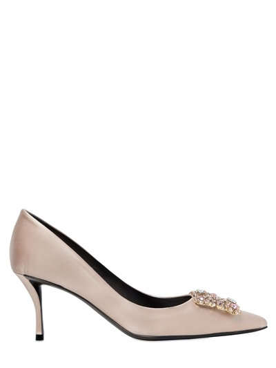 FLOWER STRASS CRYSTAL-EMBELLISHED SATIN PUMPS