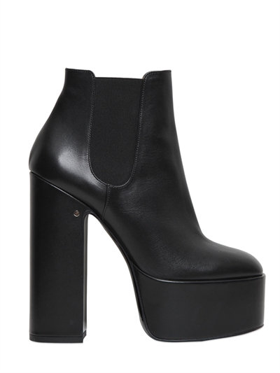 150MM LAURENCE LEATHER ANKLE BOOTS, BLACK