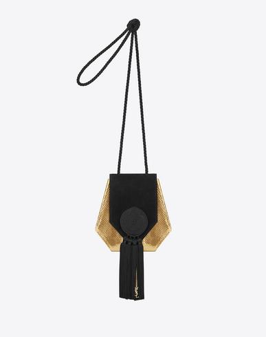 OPIUM 3 TASSEL BAG IN GOLD METALLIC AYERS SNAKESKIN AND BLACK SUEDE AND SILK CORDING