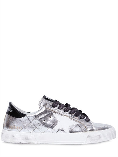 'May' matelassé metallic faux leather sneakers