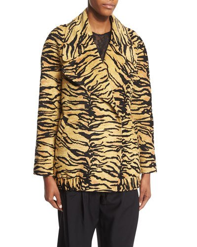 DOUBLE-BREASTED TIGER-PRINT COAT, TIGER