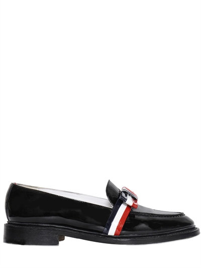 20MM STRIPED BOW PATENT LEATHER LOAFERS, BLACK