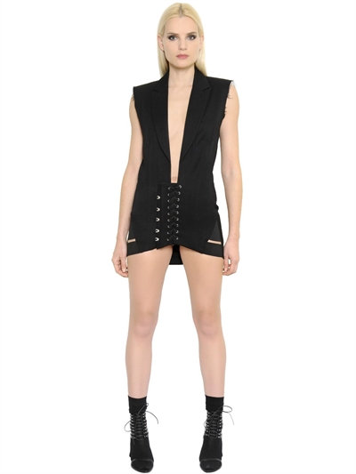 ANTHONY VACCARELLO SLEEVELESS COOL WOOL CORSET DRESS, BLACK