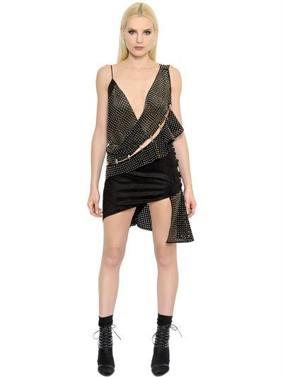 STUDDED & PERFORATED FAUX SUEDE DRESS, BLACK