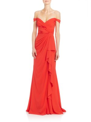 OFF-THE-SHOULDER STRETCH SILK SWEETHEART GOWN, POPPY