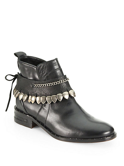 FREDA SALVADOR Star Leather Studded-Fringe Welt Ankle Boots