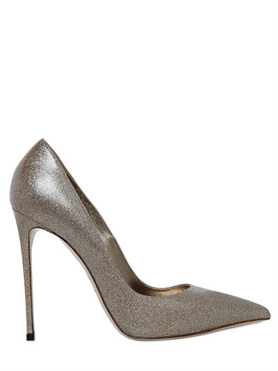 110MM GLITTERED LEATHER PUMPS