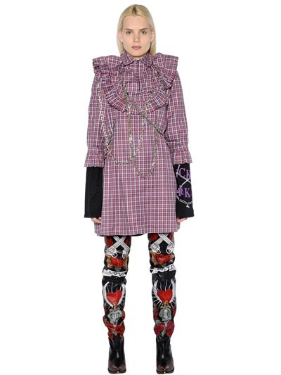 Printed Cotton Shirt Dress with Chain Embellishments