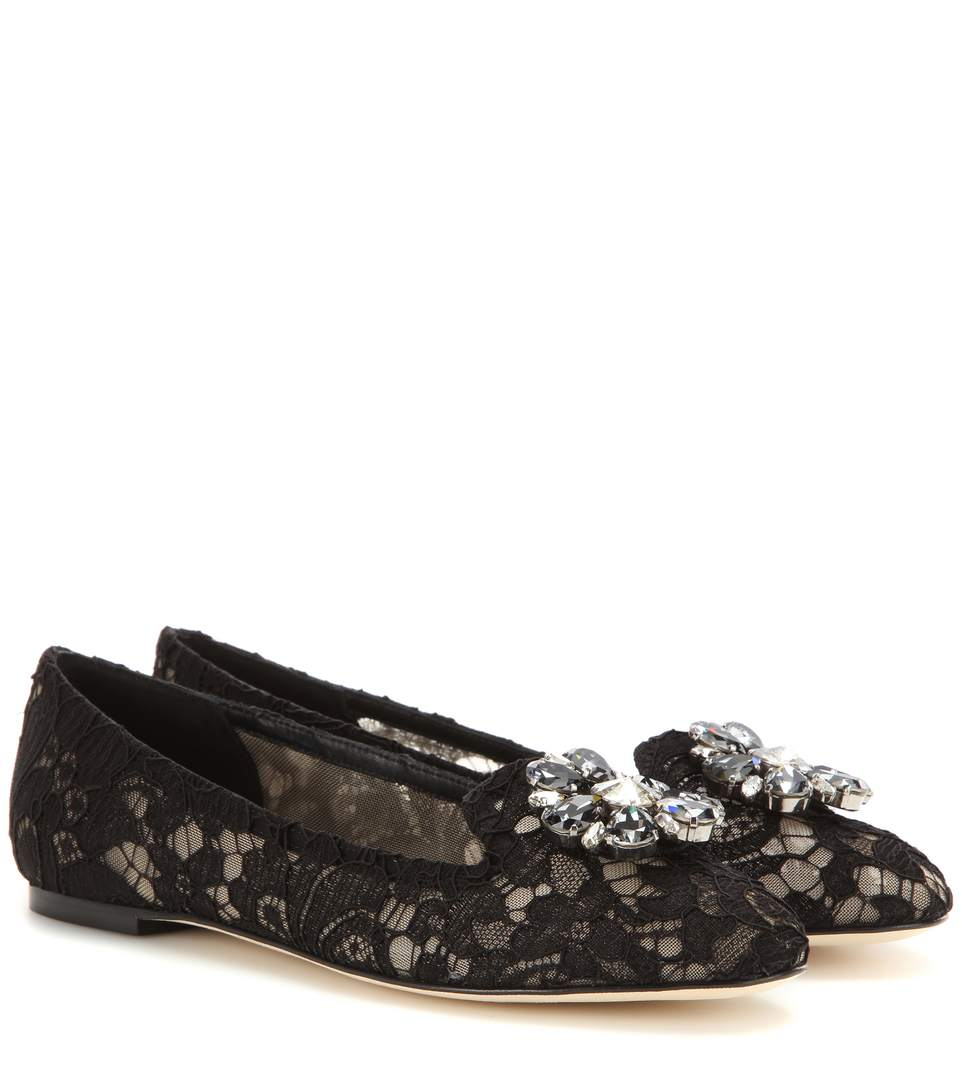 CRYSTAL-EMBELLISHED LACE BALLERINAS