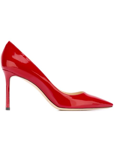 ROMY 85 Red Patent Pointy Toe Pumps