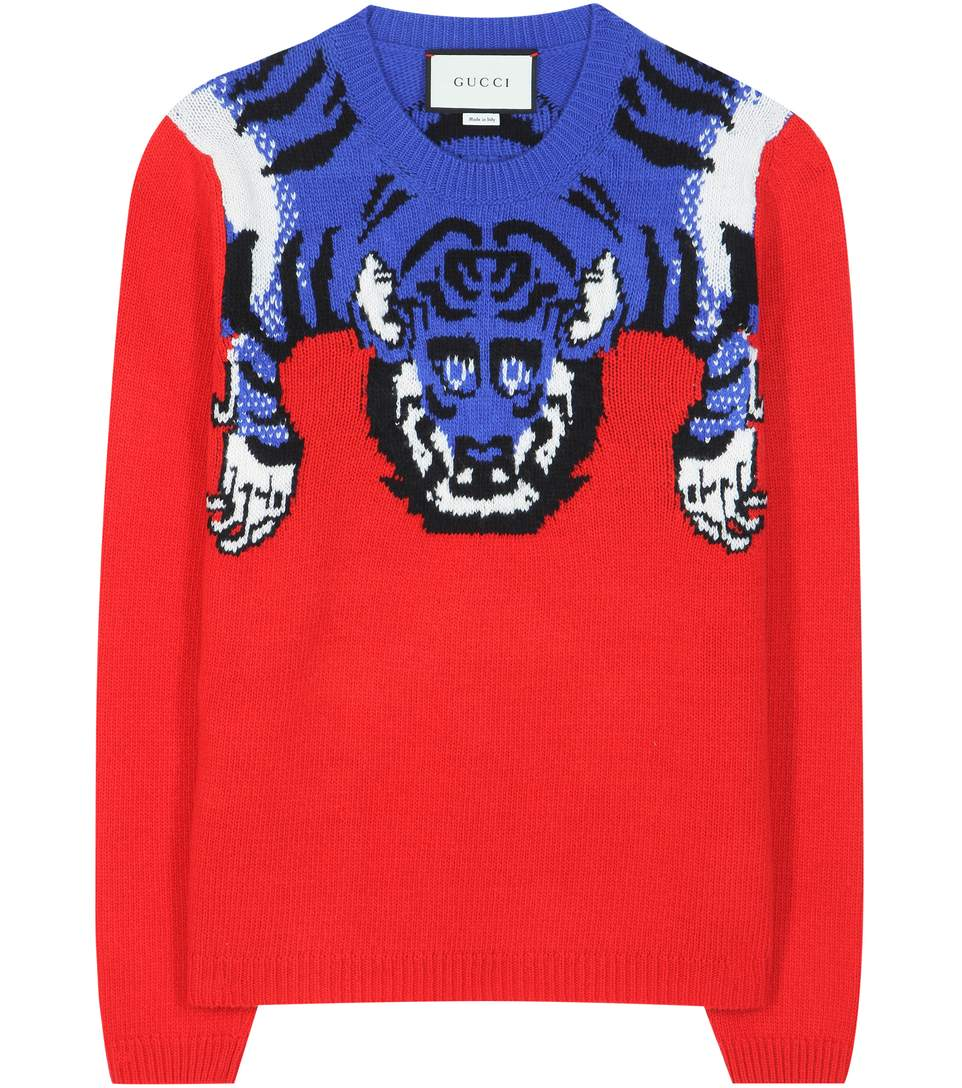 GUCCI Women'S Tiger Knit Crew Neck Sweater In Red And Blue