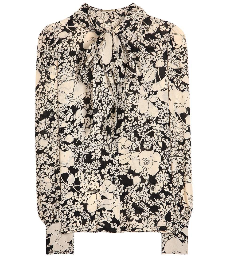 flower print pussybow blouse