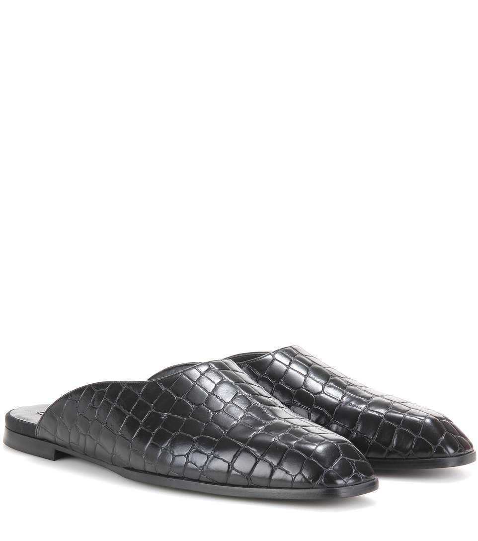 Croc-Embossed Leather Flat Mules