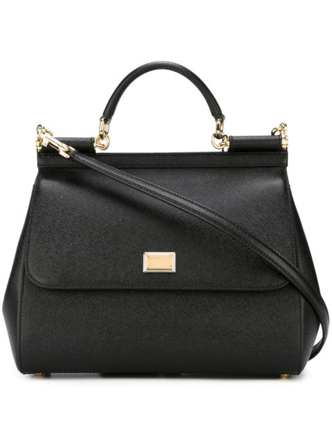 DOLCE E GABBANA WOMEN'S  BLACK LEATHER HANDBAG