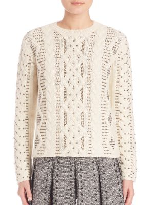 EMBELLISHED WOOL AND ALPACA SWEATER