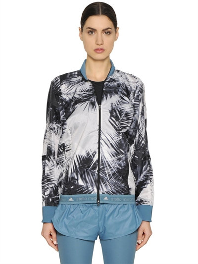 PALM PRINTED NYLON RUNNING JACKET, BLACK/WHITE