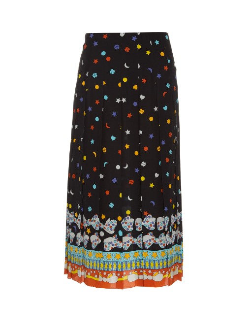 Pleated printed silk crepe de chine midi skirt