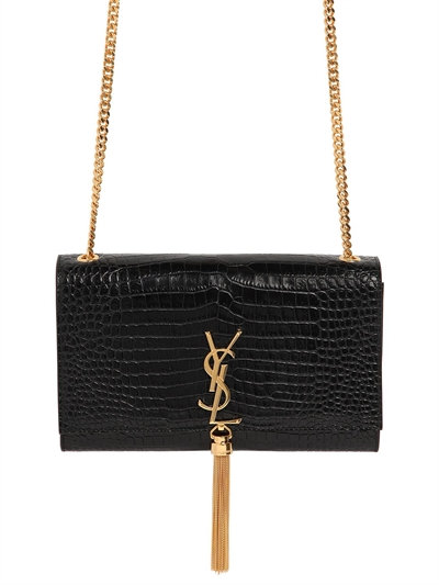 Kate Monogram Croc-Embossed Leather Tassel Chain Shoulder Bag