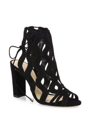 Loretta Suede Block-Heel Cage Sandals