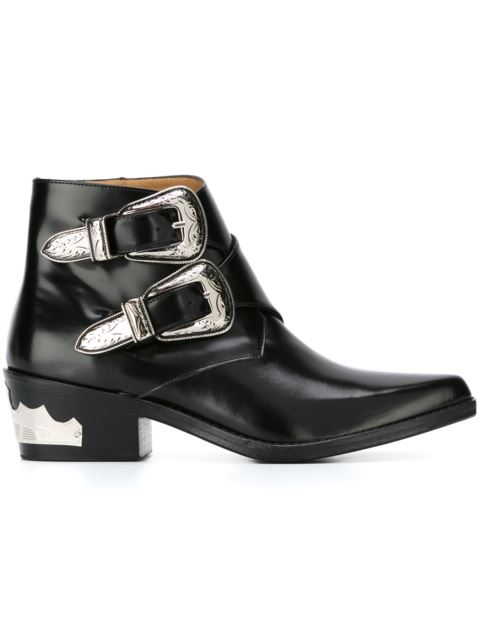 Double buckle leather ankle boots