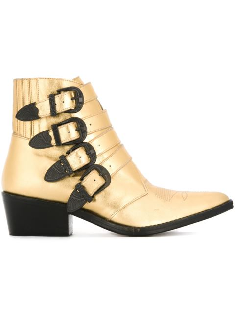 50MM METALLIC LEATHER BOOTS W/ BUCKLES