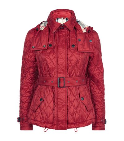 FINSBRIDGE CHECK-LINED SHORT QUILTED COAT W/ REMOVABLE HOOD, DARK CRIMSON