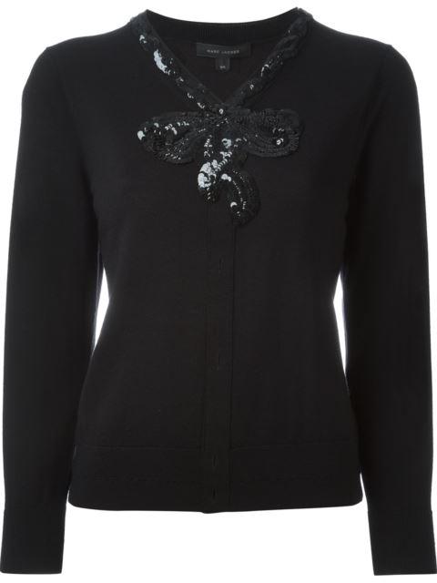 Sequin Bow Merino Wool Sweater