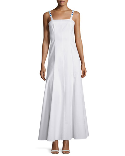 Gazelle White Cotton Gown With Multicolored Button Detail