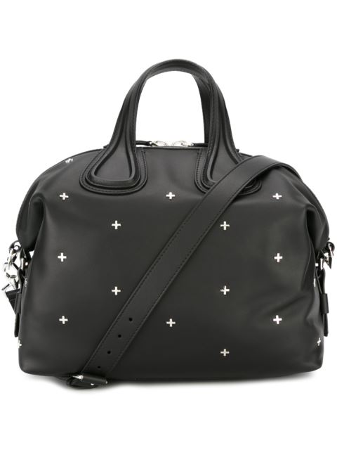 GIVENCHY Nightingale Micro Black Leather Satchel Bag W/Metal Cross