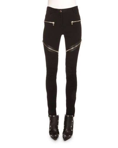 ASYMMETRIC ZIP-DETAIL MOTO LEGGINGS, BLACK